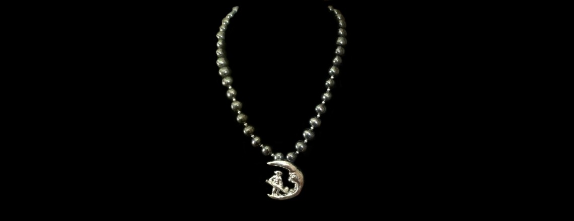 Art Clay Silver (.999) man in the moon pendant w/ pearls