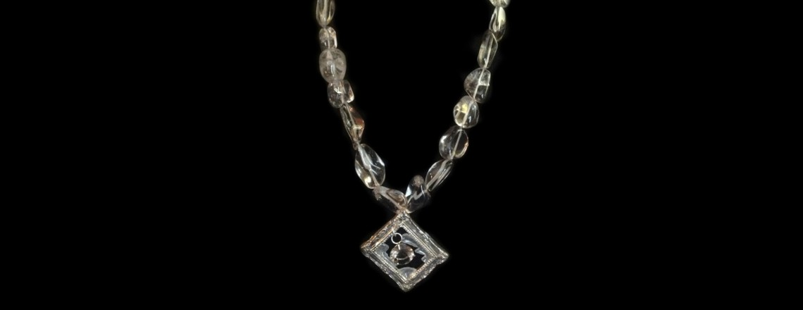 Art Clay Silver (.999) Picture Frame with Smokey Quartz Beads